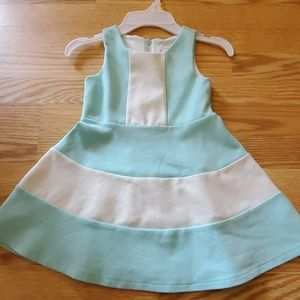 Girls teal and white sleeveless dress